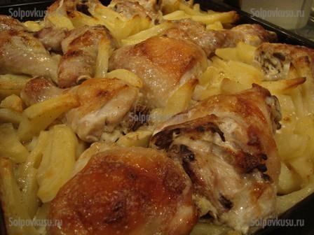курица с картошкой в майонезе в духовке